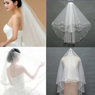 2 T Wedding Bridal Veil Elbow Short Pearl Beaded Edge Ivory White With Comb US