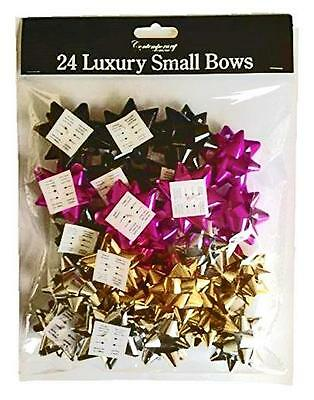 24 x Small Christmas Birthday Gift Bows Wrapping Present Pink Black Silver Gold