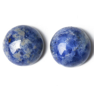 1 x Blue Sodalite 25mm Coin-Shaped Flat-Backed Cabochon CA16683-8