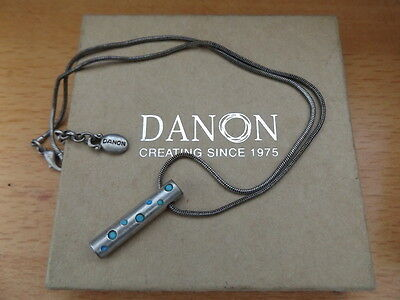 JUDAICA VINTAGE SILVER PLATED TURQUOISE MEZUZAH PENDANT NECKLACE by DANON ISRAEL