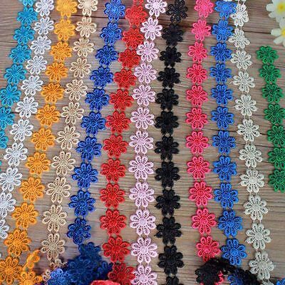 Hot Embroidered Daisy Flower Lace Trim Sewing Applique DIY 1 Yard Free Shipping