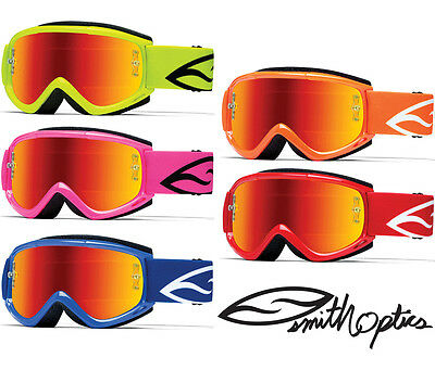 SMITH FUEL V1 MAX MIRROR MOTOCROSS MX BIKE ENDURO GOGGLES with RED MIRROR LENS