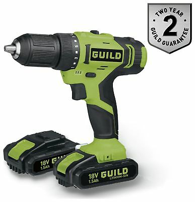 Guild1.5AH Li-Ion Variable Speed Soft Grip Drill Driver with 2 18V Batteries.