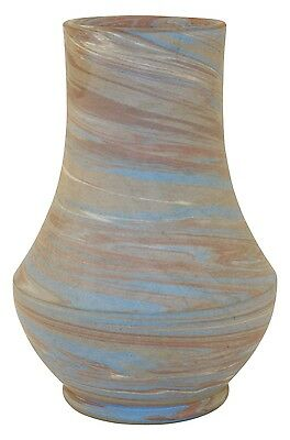 Niloak Pottery Mission Tight Blue Swirl Bulbous Vase