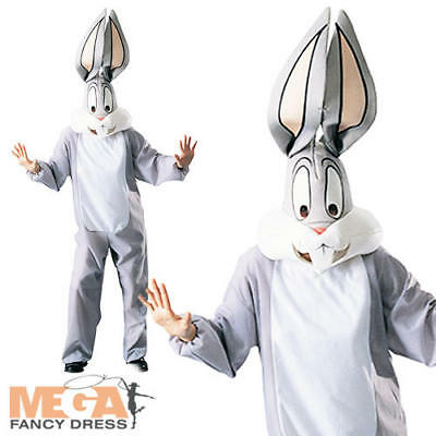 Deluxe Bugs Bunny Adults Fancy Dress Looney Tunes Animal Mens Costume Outfit New