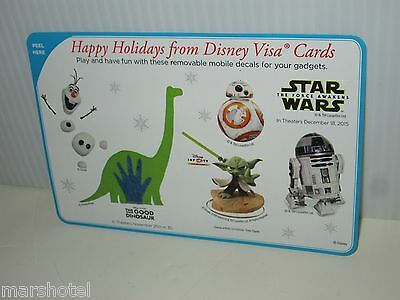 Disney Visa Rewards Excl Sticker Sheet Olaf Frozen Star Wars Good Dinosaur