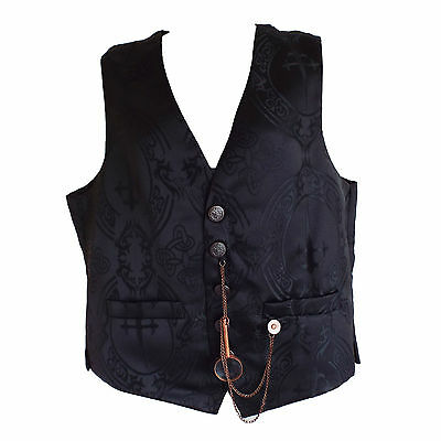 """Steampunk Waistcoat by """"Raven"""" in Black with Large Cross & Celtic Knot Print"""