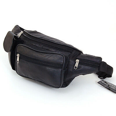 """Leather Fanny Pack Waist Bag Folding Water & Phone Pockets Adj up to 52"""" Belt NW"""