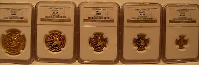 China 1985 Gold 5 Coin Full UNC Panda Set All Coins NGC MS-69