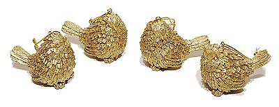 Resin Glittered Gold Bird Christmas Holiday Ornaments Set/4 NEW X9208
