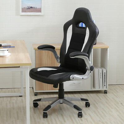 New Executive Racing Style Bucket Seat PU Leather Office Chair Home 360° Swivel
