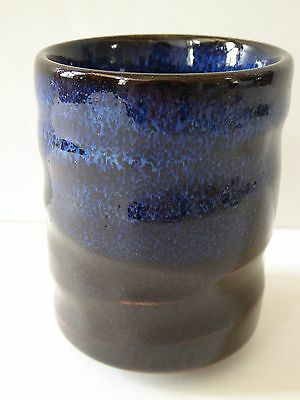 """Japanese 3.25"""" H Porcelain Yunomi Tea Cup/Big Sky at Midnight Blue/Made in Japan"""