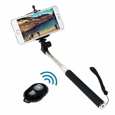 LogiLink Bluetooth Selfie Stick Teleskopstange Wireless mit Fernbedienung 109cm
