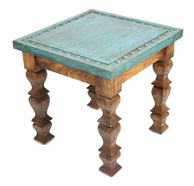 Silver Trails Western End Table -22x22x22--Silver Conchos-NEW-Rustic Furniture