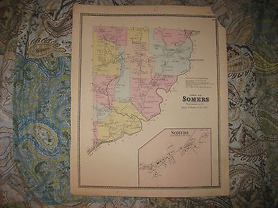 Antique 1867 Somers Westchester County New York Handcolr Map Croton Falls Purdys