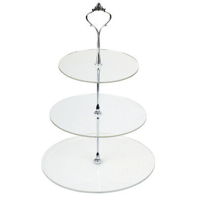 TRIXES Clear Circular 3 Tier Cake Stand Baking Display Cupcakes Stand Occasions