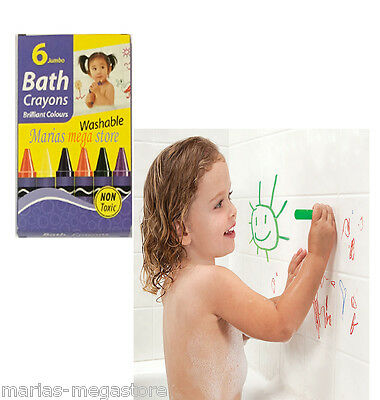 Pack of 6 Baby Bath Crayons Washable Jumbo Toddler Toy Non Toxic Art Craft Kids