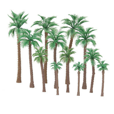 12 Plastic Model Trees Mixed Size Artificial Palm Trees Rainforest Scenery