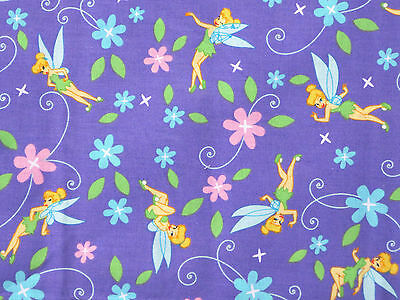 FAT QUARTER  DISNEY FABRIC TINKERBELL TINK WITH ROSES 100/% COTTON PIXIE FAIRY FQ