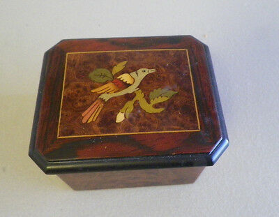 Vintage Sorrento Wooden Reuge Music Box Inlaid Bird Rapsodie In Blue  3 1/2""