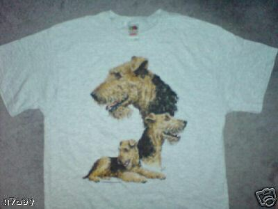 3 Airedale Terrier Dogs On A Fruit Of The Loom T-Shirt