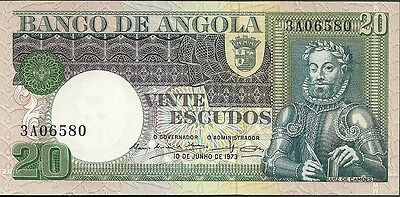 1973 Bank of angola 20 escudos currency note paper money twenty vinte