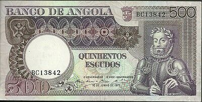 1973 Bank of angola 500 escudos currency note paper money quinhentos