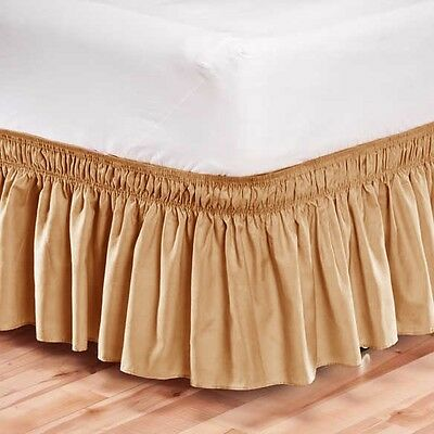 Elastic Bed Skirt Dust Ruffle Easy Fit Wrap Around Tan Color King Size