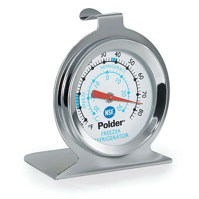 Polder THM-560N Refrigerator/Freezer Thermometer, Stainless Steel