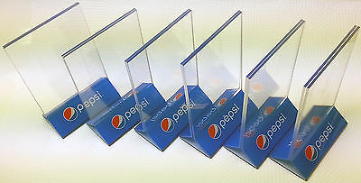 """6 of Pepsi restaurant supply menu or specials clear acrylic 4"""" X 6"""" displayettes"""