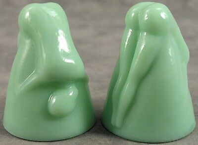 SET of 2 JADEITE GREEN GLASS BOTTOMS UP FIGURAL NUDE SHOT GLASSES ~Legs Closed~