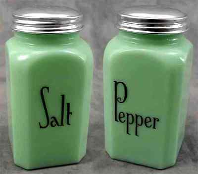 Jadeite Green Glass Tall Capital Letter Salt & Pepper Shaker Set ~ Range Size ~