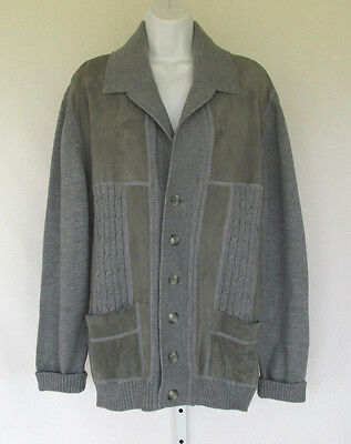 VINTAGE 1960s 70s ITALIAN WOOL JACKET SUEDE LEATHER TRIM GRAY LUCITE BUTTONS