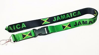 Jamaica Flag Reversible Lanyard/kechain, New, Free Shipping
