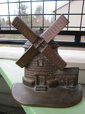 Vintage Solid Bronze National Foundry Windmill Art Statue Doorstop /Bookend