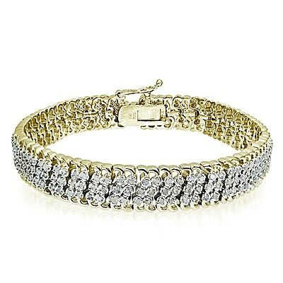 1.00 CTTW Miracle Set Diamond Studded Tennis Bracelet in Gold Plated Brass