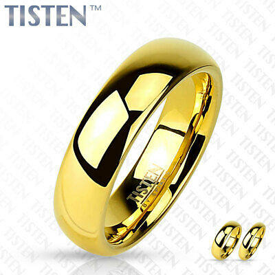 4mm Classic Wedding Band Glossy Mirror Polished Gold IP Tisten Women's Ring