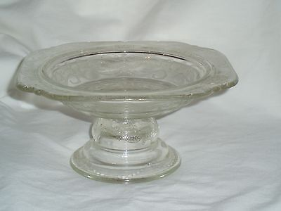 "7"" Square Clear Madrid Depression Federal Glass Pedestal Serving Candy Bowl"