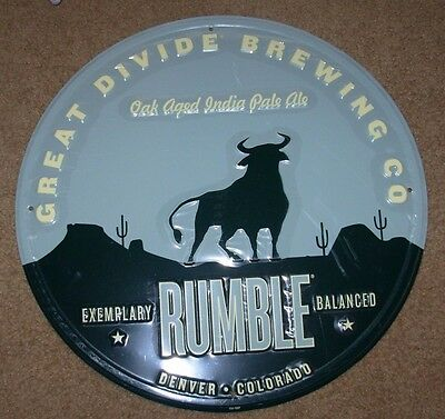 GREAT DIVIDE BREWING Rumble METAL TACKER SIGN craft beer brewing brewery