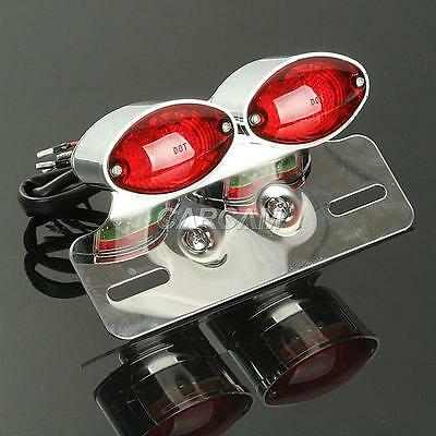 Chrome Motorcycle Brake Tail Light With Integrated Turn Signals Amber Blinkers