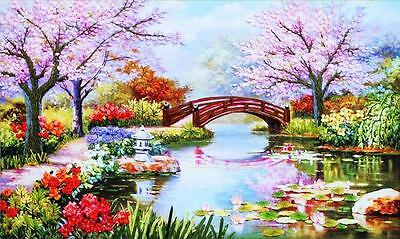 Huge Ribbon Embroidery Kit Spring Scenery in the Garden Needlework Craft RE2010