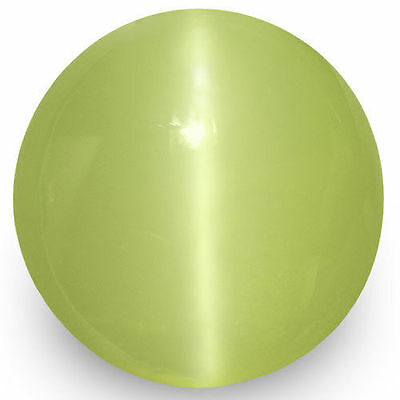 2.00-Carat 6mm Round Green Yellow Chrysoberyl Cat's Eye from Sri Lanka