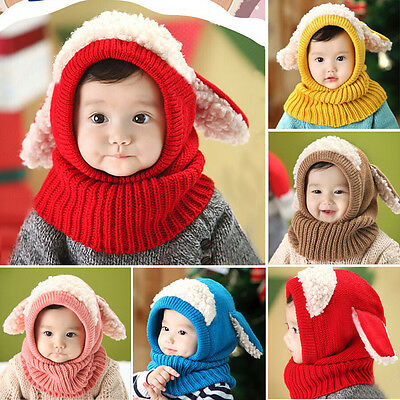 Girls Boys Baby Toddler Winter Beanie Warm Hat Hooded Scarf Earflap Knitted Cap