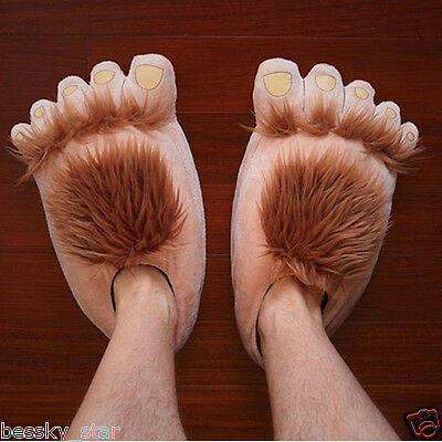 Women Men Creative Funny Cute Plush Slipper Big Feet Slippers Winter House Shoes