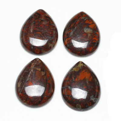 Packet 6x Red//Brown Poppy Jasper Flat Back 8mm Coin 4mm Thick Cabochon CA16676-1