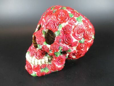 Skull Red Roses Germany 16 cm Made of Polyresin, NEW