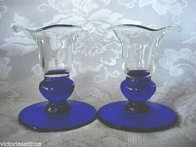 Collectible Set of 2 Cobalt Blue & Crystal Blown Glass Footed Candlesticks
