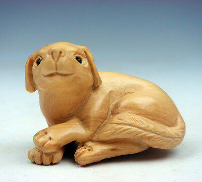 Boxwood Hand Carved Netsuke Sculpture Miniature Lovely Seated Puppy #12201503