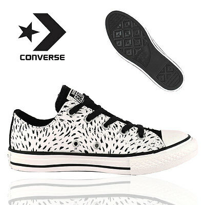 Converse Junior Kids Girls Boys Black White Mouse Trainers Casual Canvas Sneaker