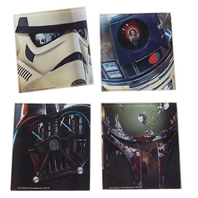 Classic Star Wars Characters Images 4 Piece Set of Glass Coasters, NEW SEALED